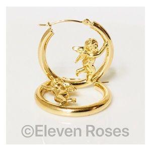 Jewelry - Solid 14k Gold Cherub Angel Hoop Earrings